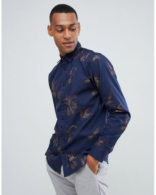 SELECTED - Blue Shirt In Slim Fit With Embroidery for Men - Lyst