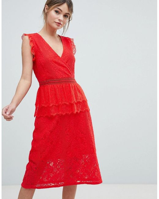 fd846094f19 Liquorish - Red Lace Midi Dress - Lyst ...