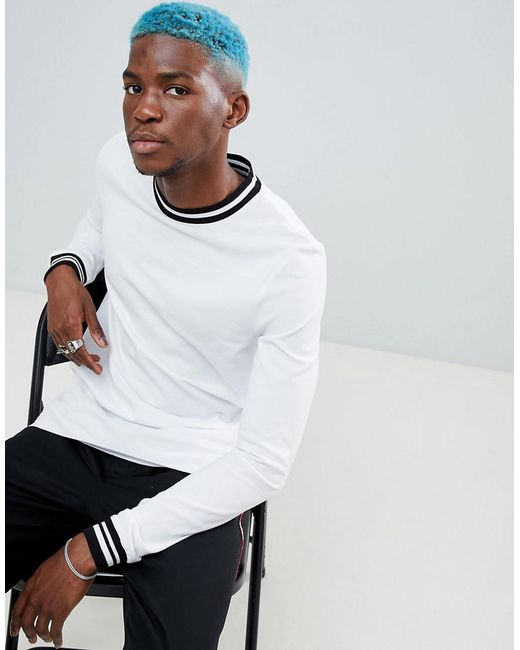 1da7cec1 ASOS - White Asos Long Sleeved T-shirt With Contrast Tipping In Pique for  Men ...