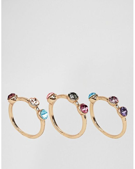 ASOS | Metallic Pack Of 3 Rainbow Stone Rings | Lyst