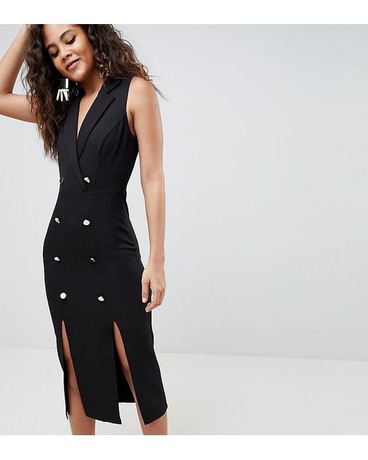 Asos Black Design Tall Midi Tux Dress With Gold Ons Lyst