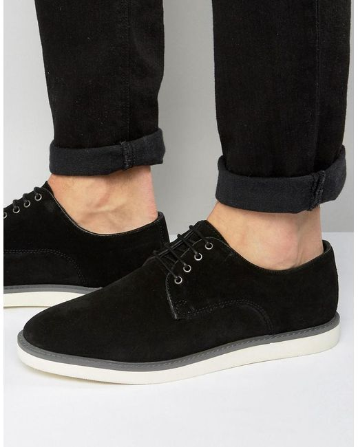 Dune | Black Blow Out Suede Derby Shoes for Men | Lyst