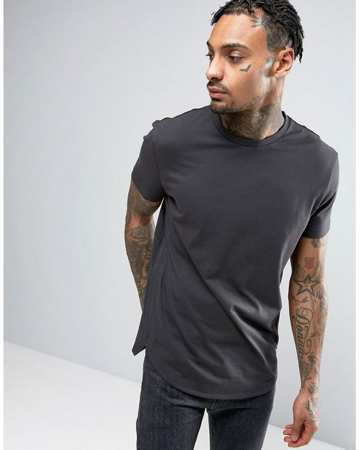 ASOS | Super Longline T-shirt In Gray With Curved Hem In Gray for Men | Lyst