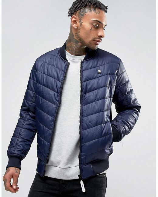 g star raw meefic bomber jacket in blue for men lyst. Black Bedroom Furniture Sets. Home Design Ideas