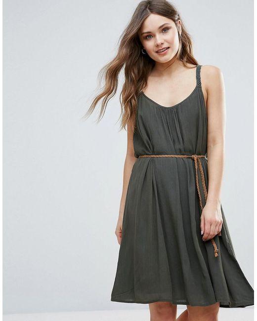 b summer dress with belt detail in green lyst