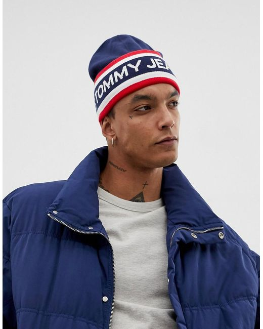 Tommy Hilfiger - Blue Heritage Logo Knitted Beanie In Navy for Men - Lyst  ... 03b9279d4ab5