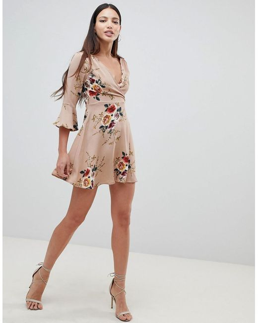 Frill Sleeve Floral Swing Dress - Beige AX PARIS