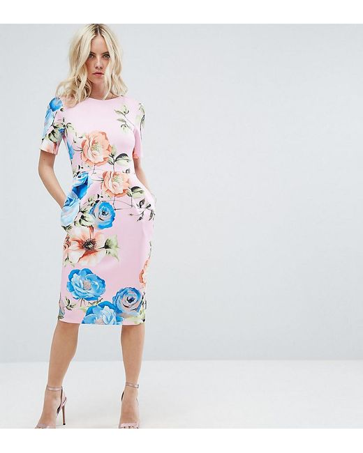 ASOS | Midi Wiggle Dress In Pink Floral Print | Lyst