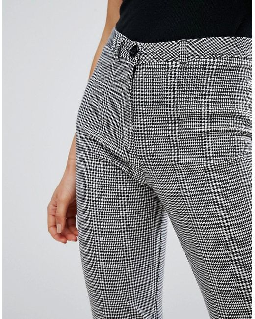 New Look Check Cropped Trousers In Black Lyst