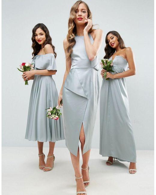 Asos wedding cami drape back pencil midi dress in green lyst for Pencil dress for wedding