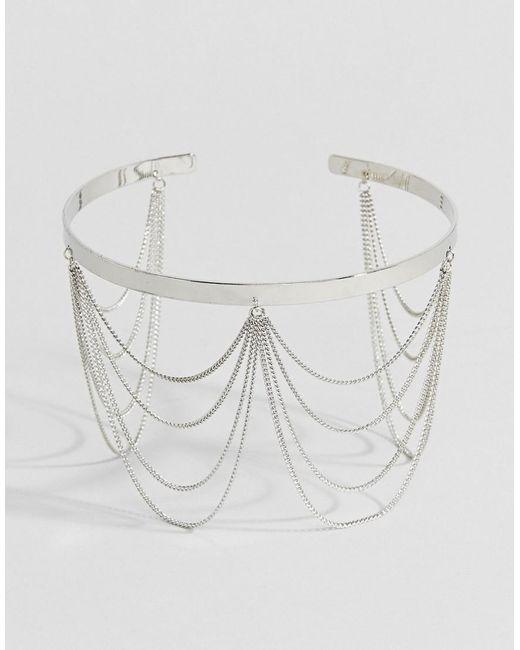 ASOS DESIGN - Metallic Draping Chain Arm Cuff - Lyst