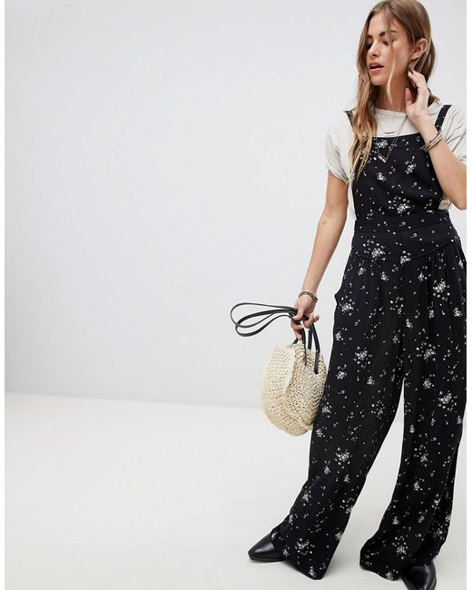 Free People - Black Sweet In The Streets Printed Jumpsuit - Lyst