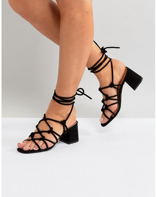 Public Desire - Freya Black Mid Heeled Sandals - Lyst