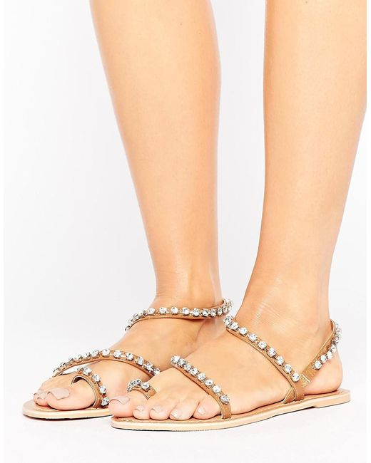 ASOS | Multicolor Faithfully Embellished Leather Flat Sandals | Lyst