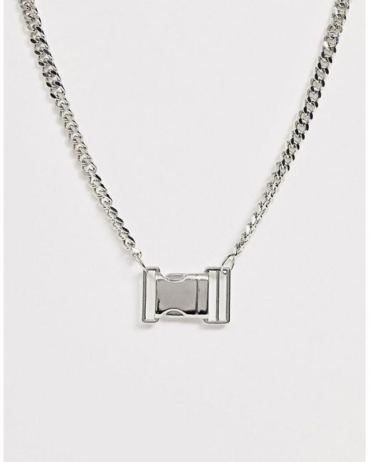 ASOS Metallic Necklace With Buckle Pendant In Silver Tone