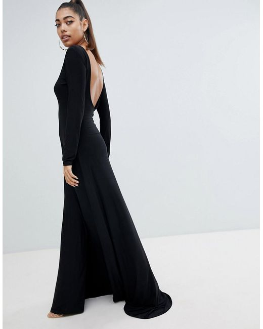Lyst Fashionkilla Open Back Maxi Dress In Black In Black