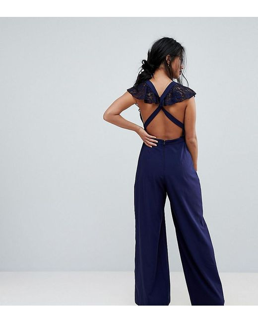 7bf5308de6c ASOS - Blue Wrap Lace Jumpsuit With Wide Leg - Lyst ...
