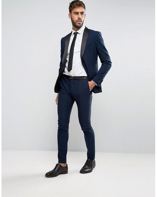 Only & sons Super Skinny Tuxedo Suit Jacket in Blue for Men | Lyst