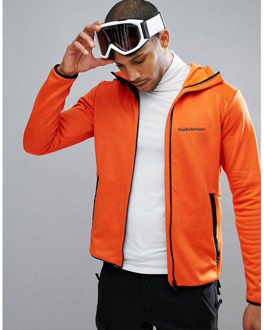 Peak Performance - Fleece Half Zip Fleck Sweat In Orange for Men - Lyst