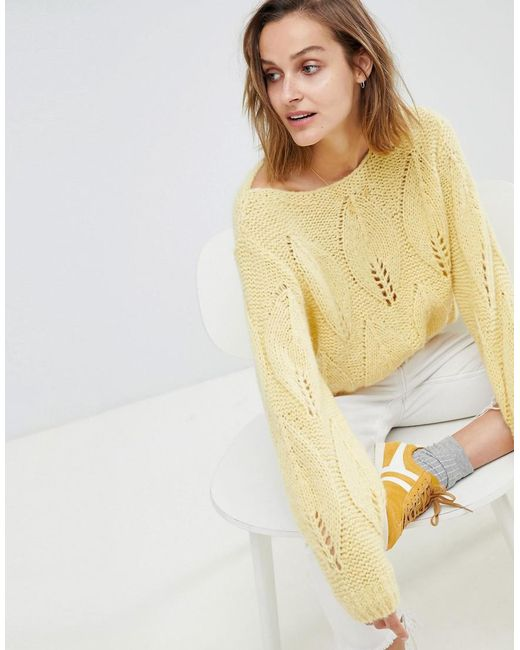 MiH Jeans - Yellow Lacey Knit Sweater - Lyst