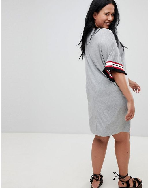1893e42ffd9 ... ASOS - Gray Asos Design Curve T-shirt Dress In Grey Marl With Frill  Tipped