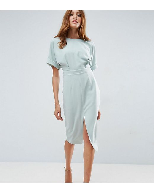 ASOS | Green Smart Woven Midi Dress With V Back | Lyst
