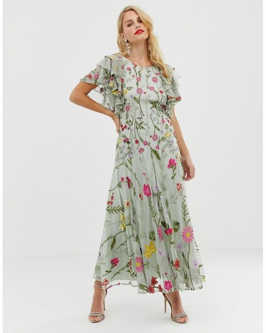 ASOS - Pink Bloombox Midaxi Dress With Frill Sleeve - Lyst