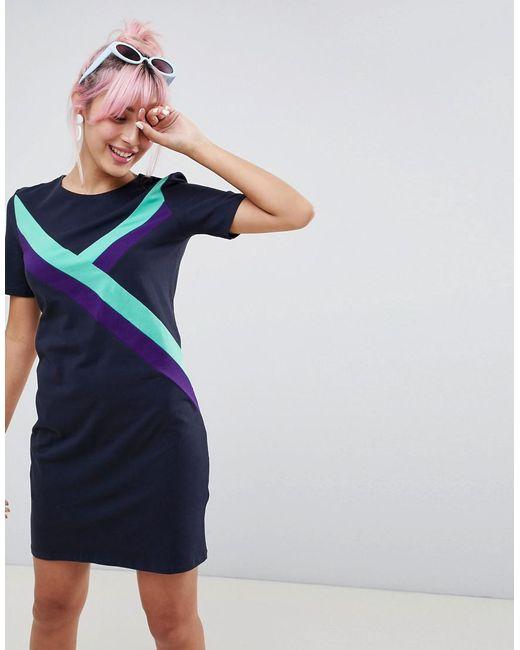 Monki - Blue Sporty Stripe Dress - Lyst
