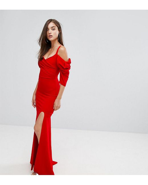 TFNC London | Red Fishtail Maxi Dress With 80's Off Shoulder | Lyst