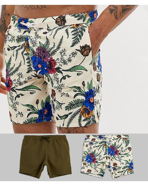 ASOS Multicolor Swim Shorts In Floral & Khaki Mid Length 2 Pack Multipack Saving for men