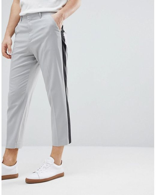 Tapered Smart Trousers In Ice Grey With Charcoal Side Stipe - Ice grey Asos With Paypal Cheap Price w5xdfBdn