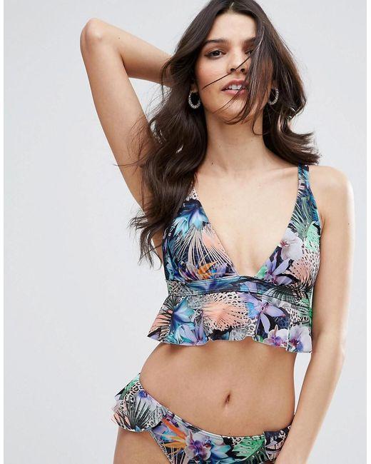 ASOS - Blue Tropical Frill Plunge Triangle Bikini Top - Lyst