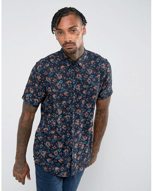ASOS - Black Regular Fit Viscose Abstract Floral Print Shirt for Men - Lyst