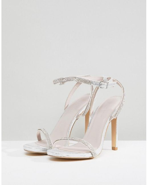 2102220773a2 ... New Look - Metallic Heatseal Barely There High Heeled Sandal - Lyst