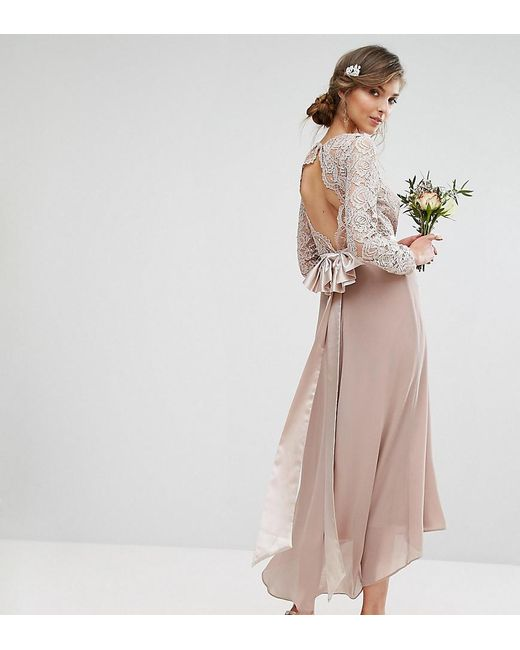 c2d6d151e4b4 Lyst - TFNC London Wedding Lace Midi Dress With Bow Back in Pink ...