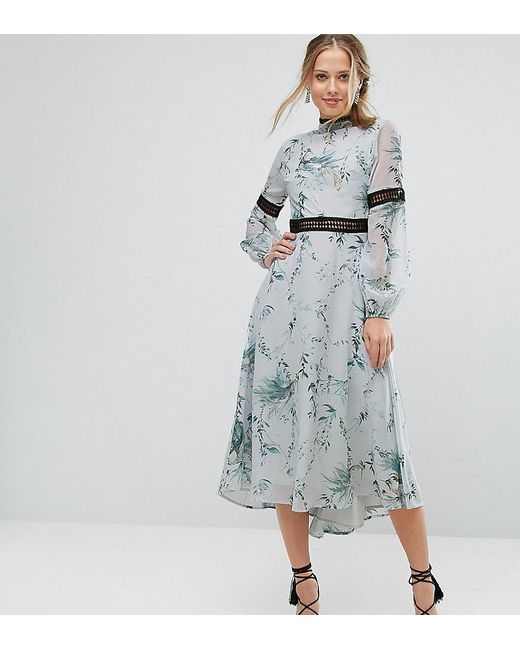 Hope and Ivy - Multicolor Hope & Ivy Printed Open Back Midi Dress With Lace Inserts - Lyst