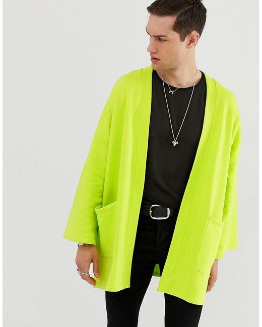 ASOS - Green Jersey Kimonovest In Fwlgroen for Men - Lyst