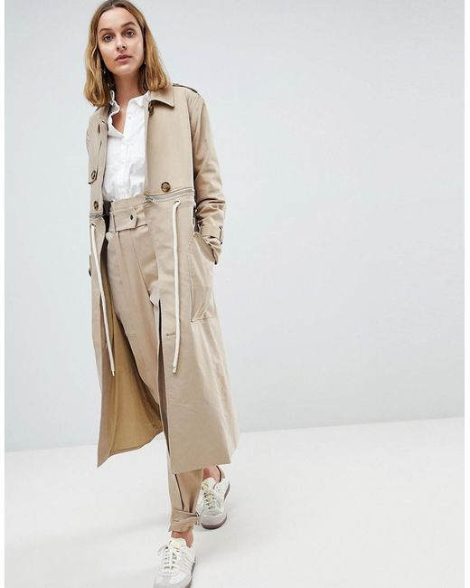 ASOS - Natural Trench Coat Co-ord With Rope Detail - Lyst