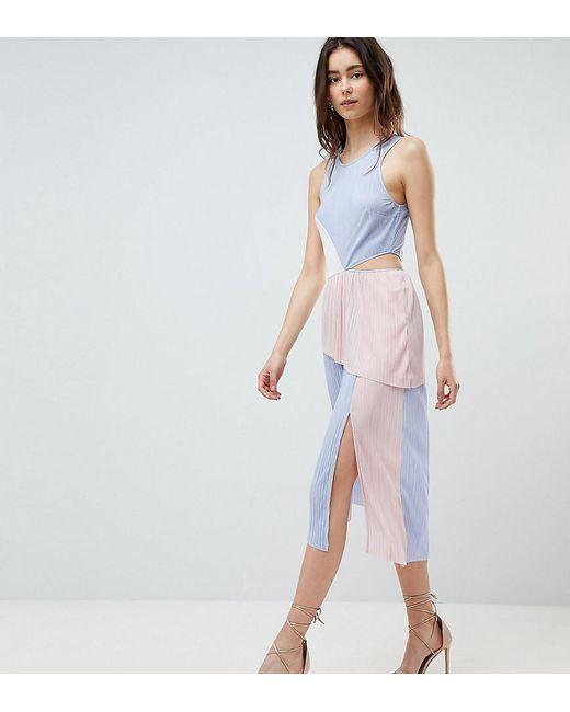 2f5faecd6a21 ASOS - Multicolor Asos Design Tall Colour Block Plisse Dress - Lyst ...