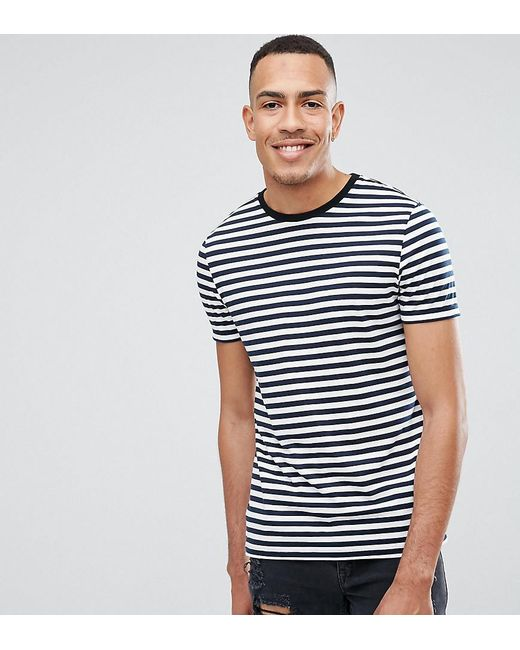 6ec1d11a ASOS - Blue Tall Stripe T-shirt In Navy And White for Men - Lyst ...