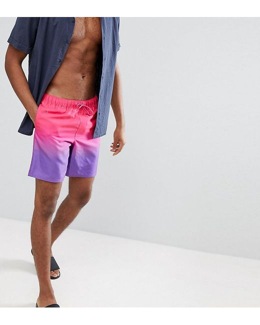 088362bc2c93e1 ASOS - Asos Tall Swim Shorts In Purple & Pink Ombre In Mid Length for Men  ...