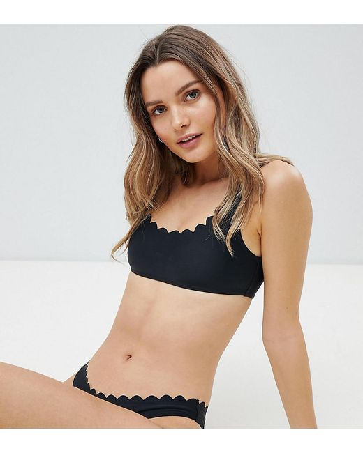e3e730b9663f3 South Beach - Exclusive Mix And Match Scallop Edge Crop Bikini Top In Black  - Lyst ...