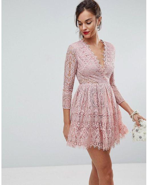 ASOS - Pink Robe de bal de promo en dentelle manches longues et coupe courte  ... 75b07071448f