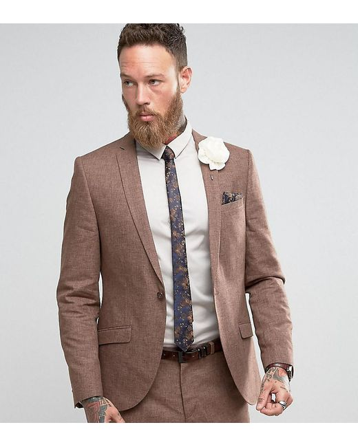 Lyst - Heart & Dagger Slim Wedding Suit Jacket In Linen Mix in ...