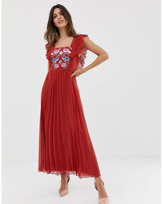 6de032fc77c ASOS Pleated Embroidered Square Neck Skater Midi Dress in Red - Lyst
