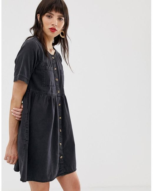 b25c9e1f94 ASOS Denim Button Smock Dress With Pockets In Washed Black in Black ...