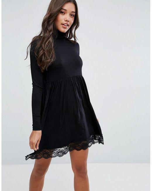 ASOS - Black Polo Neck Skater Dress With Lace Hem - Lyst