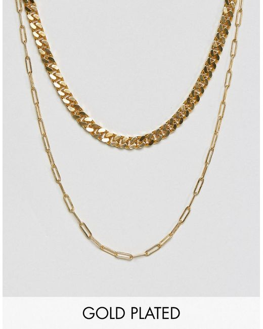 Gogo Philip | Metallic Double Layered Gold Plated Necklace | Lyst