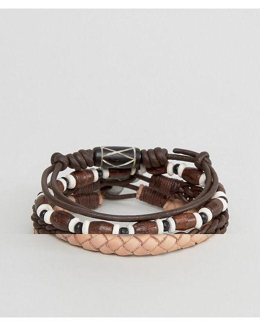 ASOS | Leather Bracelet Pack In Brown With Beads | Lyst