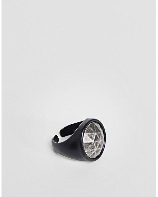 Seven London | Black Chunky Ring for Men | Lyst
